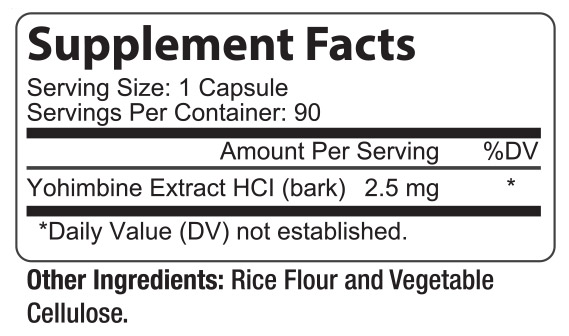 Yohimbine Supplement Facts Label